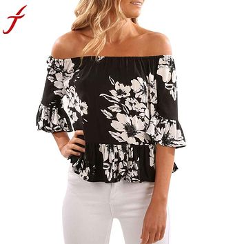 """ASUM"" Ladies Off Shoulder Flare Top (Casual Flare Flower Print)"