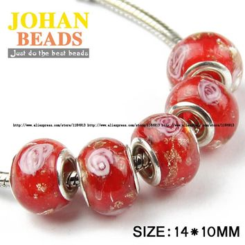 JHNBY 5mm Big Hole European Beads Style Fashion Charms Red Glass Bead 10pcs Round Loose bead Fashion Braclets Jewelry making DIY