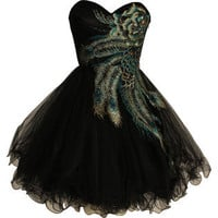 Metallic Peacock Embroidered Holiday Party Prom Dress Junior Plus Size- PacificPlex-Clothing-Juniors-Dresses