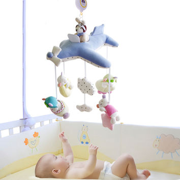 SHILOH Crib Stroller toy Crib mobile Baby Plush Doll Infant Children Newborn Boy Girl Gift with 60 songs Musical Box Holder Arm