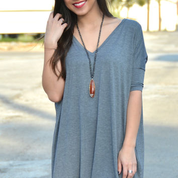 Piko V-neck Tunic - Heather Gray