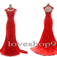 Long Red Custom Prom dress Lace Sequins Evening Dress Court Train Prom Dress Elegant Bridesmaid Dress Adorable Evening Gown Party Gown