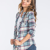 Polly & Esther Womens Hooded Flannel Shirt Blue Combo  In Sizes