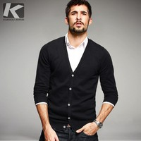 KUEGOU Autumn Mens Sweaters 100% Cotton Knitted Thin Black Color Brand Clothing Man's Slim Cardigan Knitwear SweaterCoats 9434