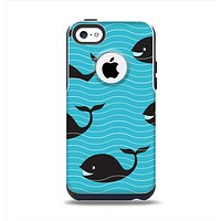 The Teal Smiling Black Whale Pattern Apple iPhone 5c Otterbox Commuter Case Skin Set
