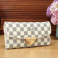 LV Louis Vuitton Fashion New Monogram Cream Check Brown Black Check Leather Women Wallet Purse Handbag White