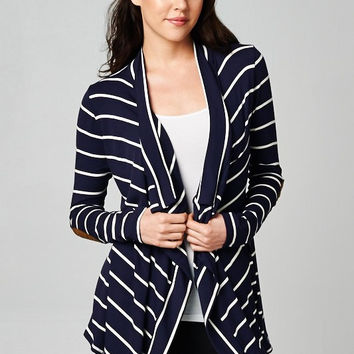 Navy and White Striped Cardigan with Elbow Patch