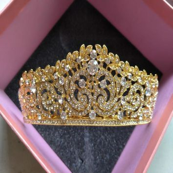 Luxury Rose Gold Vintage Crystal Princess Rhinestone Prom Pageant Crowns For Women Wedding Tiara For Bride Hair Accessories