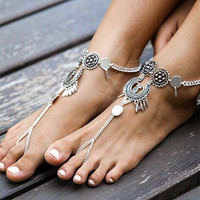 1PC Bohemian Indian Foot Jewelry Antique Silver Hollow Flower Chain Anklets Beach Barefoot Sandals Boho Chic Anklets for Women