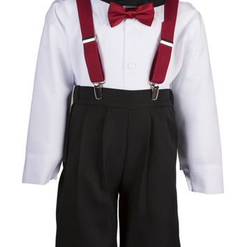 Black Knickers Set Pageboy Cap Bold Colored Suspenders & Bow Tie  for Toddlers & Boys
