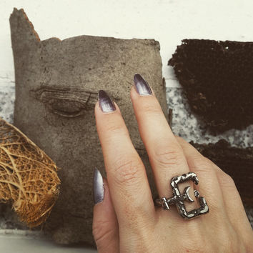 Ashes Oxidized Silver Hand Carved Alchemy Ring, Alchemical Symbols Jewelry, Letter E - Moon and Serpent