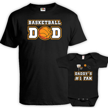 Matching Father And Baby Dad And Daughter Matching Shirts Daddy And Son Shirts Dad Gifts Basketball Dad Daddy's #1 Fan Bodysuit MAT-726-727