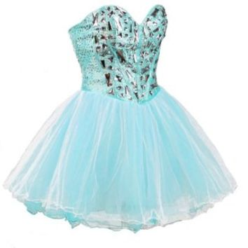 Faironly Zxs1 Mini Short Crystal Prom Cocktail Dress (XS, Turquoise)