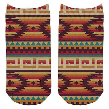 Native American Pattern All Over Adult Ankle Socks