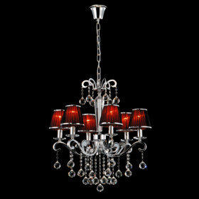 Iron Chrome 6-light Crystal Ceiling Light with Lamp Cover (1048-NT9607-6) - US$ 359.99