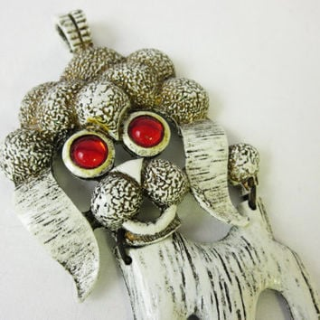 Large Articulated Poodle Pendant, 1960s Vintage Necklace Pendant, White Poodle Dog, Retro Poodle, Very Kitsch