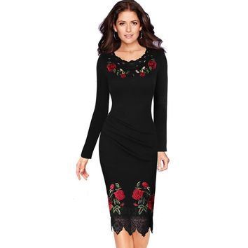 Vfemage Womens Elegant Crochet Lace Embroidery Flower Casual Party Evening Mother of Bride Special Occasion Bodycon Dress 4265