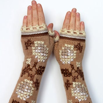Knitted Fingerless Gloves, Women, Accessories, Gloves and Mittens,Beige, Ivory, Brown, White, Roses, Cross Stitch, Long, Gift Ideas