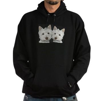 Two Cute West Highland White Dog Hoodie (dark)