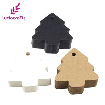 Lucia crafts 24pcs/lot 5.5*5.4cm DIY Kraft Christmas Tree Shape Hang tag Christmas Party Decor Paper Cards Gift tag 078003043