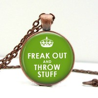 Freak Out & Throw Stuff Dome Pendant Necklace - Whimsical & Unique Gift Ideas for the Coolest Gift Givers