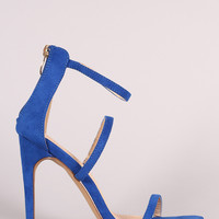 Liliana Suede Triple Straps Single Sole Heel
