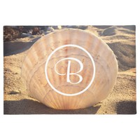 California sand and seashell photo custom monogram doormat