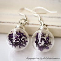 Nature Inspired Jewelry Real Dried Clover Earrings Gift (HM0041)