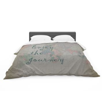 """Catherine Holcombe """"Journey"""" World Map Featherweight Duvet Cover"""