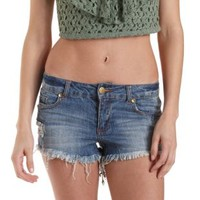 Destroyed Low-Rise Denim Shorts by Charlotte Russe