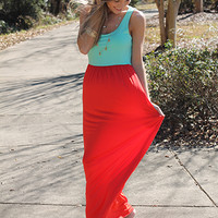 Double Down Maxi, Mint/Coral