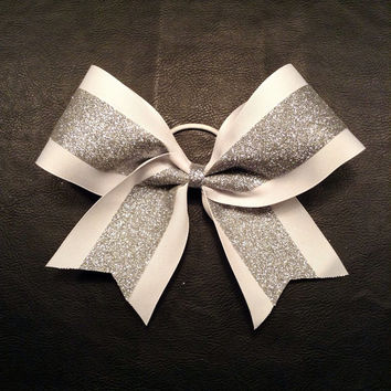 Glitter Sparkle Silver & White 3 inch wide Competition Cheer Bow