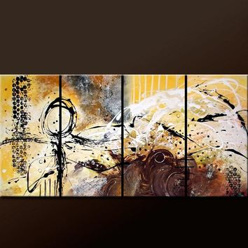 4pc Set of Abstract Canvas Art Prints 80x30 Wrapped Canvas by Destiny Womack - Beauty & Chaos - dWo