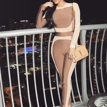 Emilia SHEER MESH COLORBLOCK BANDAGE JUMPSUIT