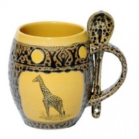 Giraffe Mug with Spoon in Dark Yellow