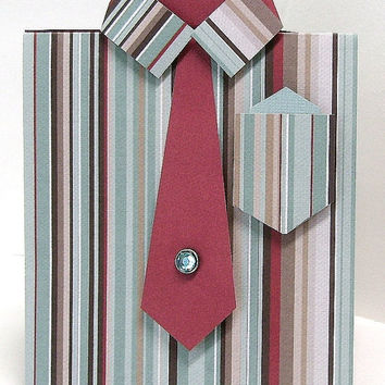 Guy dress shirt greeting card, Unique masculine any occasion card, Blue & burgundy striped,  blue diamond tie pin, Male, Men, Guys, Dads