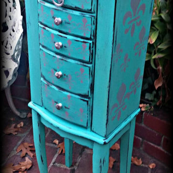 Shabby chic jewelry box, Distressed jewelry box, aqua jewelry box, stenciled jewelry box, standing large jewelry box, rustic jewelry box