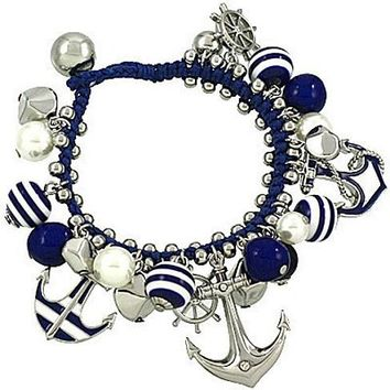 Anchor and Helm Rope and Nautical Charm Bracelet Silver and Navy Striped
