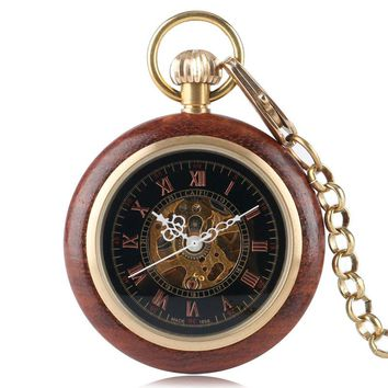 Wood Mechanical Pocket Watch Hand Winding Steampunk Luxury Carving Hollow Skeleton Fashion Pendant Necklace Relojes de bolsillo