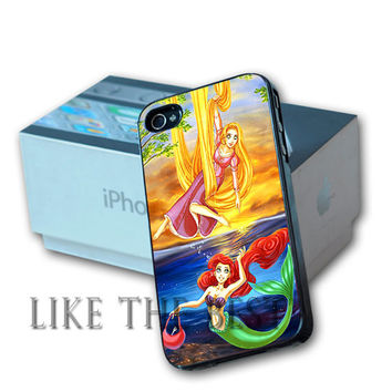 Disney Princess Rapunzel and Princess Ariel Design For iPhone 4/4s and iPhone 5 Case, Samsung S3 i9300 and Samsung S4 9500