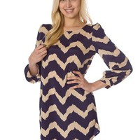 Zig Zag Stipe Dress - Taupe at Lucky 21 Lucky 21