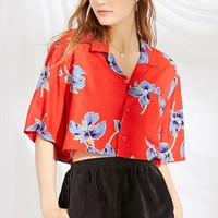 Urban Renewal Remade Tropical Print Cropped Button-Down Shirt | Urban Outfitters