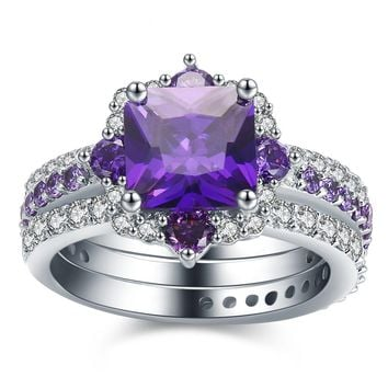 Purple Stone 3 rings  Wedding Engagement set