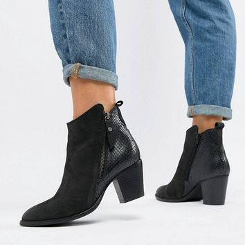 Dune London Wide Fit Pontoon Leather Western Mid Heel Ankle Boots With Side Zip Detail at asos.com