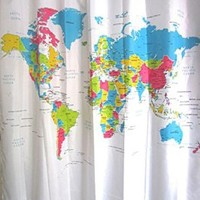 Enllo® World Map Shower Curtain/thick Waterproof World Map Design Bathroom Shower Curtain/world Map Bathroom Waterproof Fabric Shower Curtain/world Map Waterproof Anti-mildew Polyester Bath Curtain Shower Curtain Home & Bathroom Decorative/the World Peva S