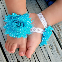 Baby Barefoot Sandals .. Turquoise Flowers with White Polka dots  .. Toddler Sandals .. Newborn Sandals