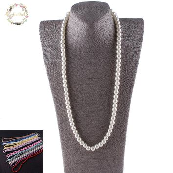 JIOFREE Vintage beads 8mm Imitate Shiny Pearl Necklace Fashion Pearl Statement Necklace Wedding Party for women Jewelry