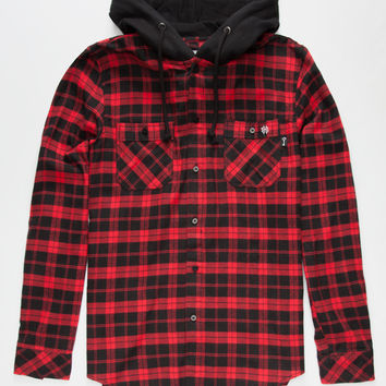 Key Street Aspen Mens Hooded Flannel Shirt Red/Black  In Sizes