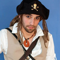 Pirate Two Wighat. Comes with beard!  Tricorn hat with skull and crossbones.