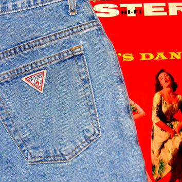 Vintage GUESS JEAN Shorts, 80s High Waisted Light Acid Washed Denim Jean Shorts, Cuffed, Hemmed High Waist Shorts Size M 8 10